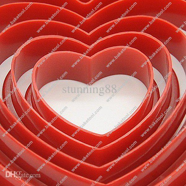 Wholesale-Free shipping,6pcs Plastic Heart shape cookie cuers
