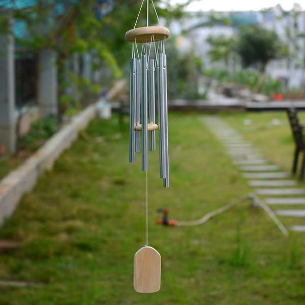 top popular Amazing Grace Deep Resonant Antique Metal Wooden 6 Tube Windchime Chapel Bells Wind Chimes Home Ornament Handicraft Gifts 2021