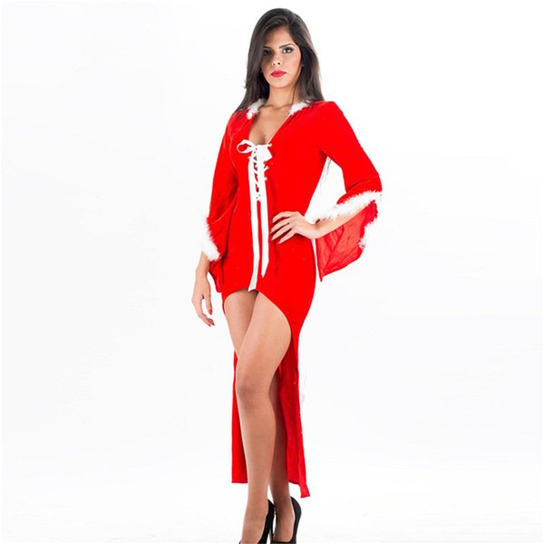 Sexy Long Bell Sleeve Plush Christmas Theme Fancy Dress Faux Fur X-mas Night Gown Dresses Red Miss Santa Costume