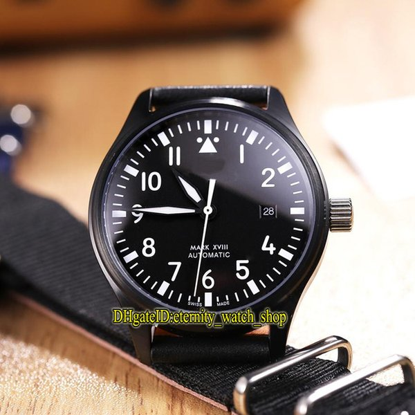 quality design 5a934 55e20 Best Edition Brand Pilot'S Mark IW324703 Black Date Dial Japan Miyota 8215  Automatic Mens Watch Sapphire Glass Black Case Leather Strap Watches ...