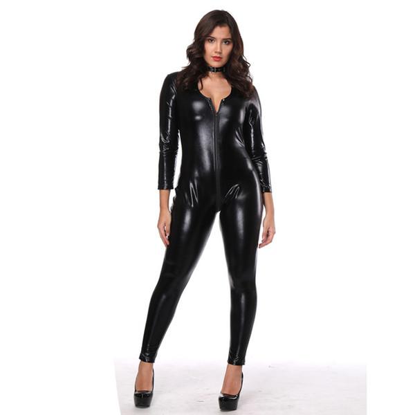 Hot Sexy Black Catwomen Jumpsuit Spandex Latex Catsuit Costumes for Women Body Suits Fetish Zipper Leather Jumpsuit S-2XL
