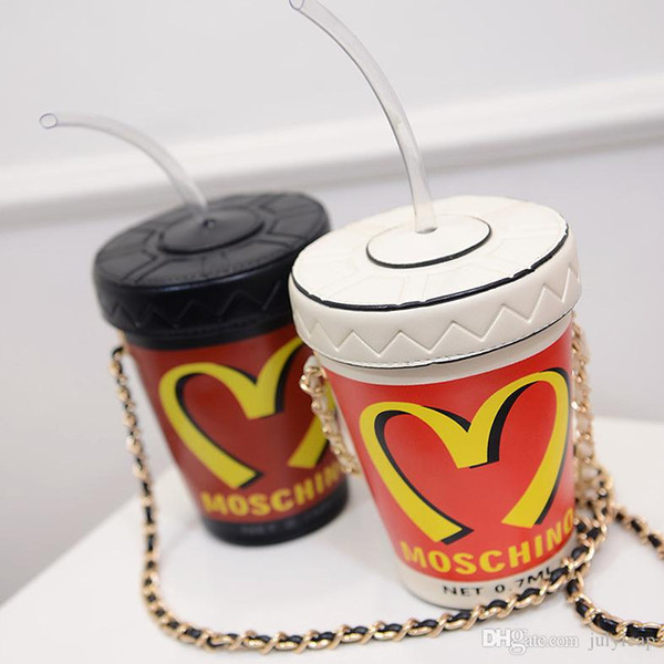 2019 summer models McDonald's cola straw cup chain bag cell phone purse shoulder slung buckets personalized handbags