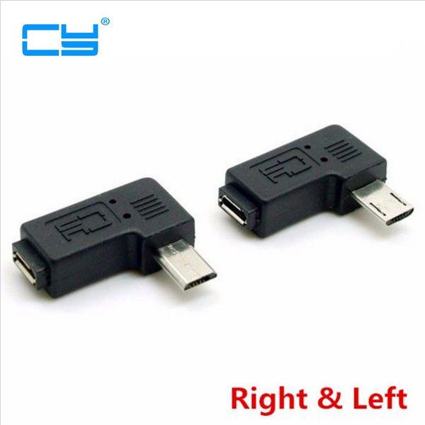 9mm Uzun fiş Konnektör 90 Derece Sağ Sol Açılı Mikro USB 2.0 5Pin Erkek Kadın M F Uzatma konnektör Adaptörü