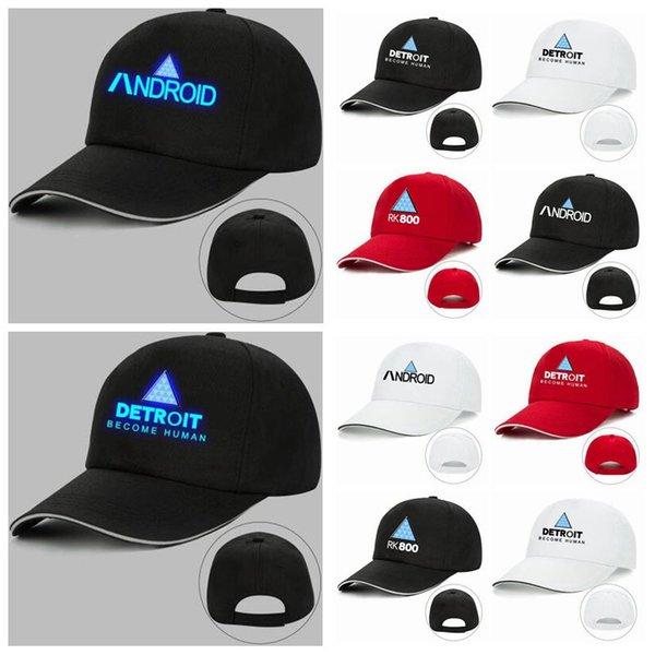 12 couleurs Detroit Hat Jeu Detroit Devenir Humain Unisexe Imprimé Snapbacks RK800 Drôle Lumineux Baseball Ball Cap Chapeaux Part CCA10482 20pcs