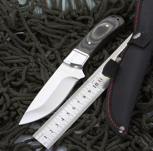 High Hardness Fixed Blade Hunting Knife, Straight Edge Blade, Wood Handle, Outdoor Camping & Survival Utility Knife