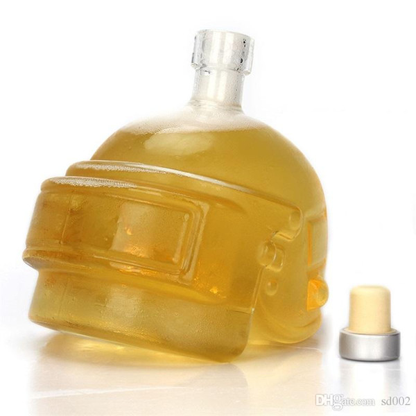 Hohe Borosilikatglas Flasche Minimalismus Flagon Helm Form Transparent Wein Topf Ungiftig Kreative Persönlichkeiten Flachmänner 25kb jj