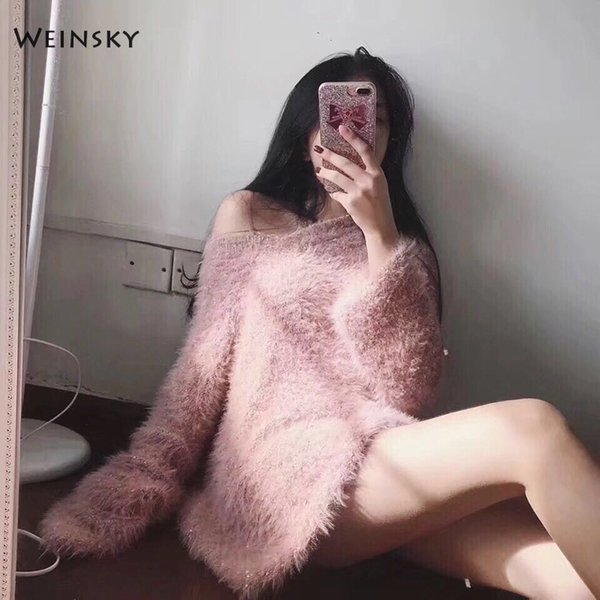 Weinsky Casual Women Knitted Long Sweaters And Pullovers Ladies Autumn And Winter 2018 Oversized Korean Style Pink Sweaters