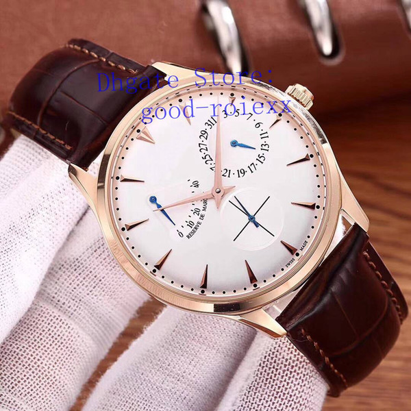 Luxury Mens Automatic Rose Gold Watch Men's Transparent Master Ultra Thin Watches Black White Dial Leather Strap 1372520 Men Wristwatches