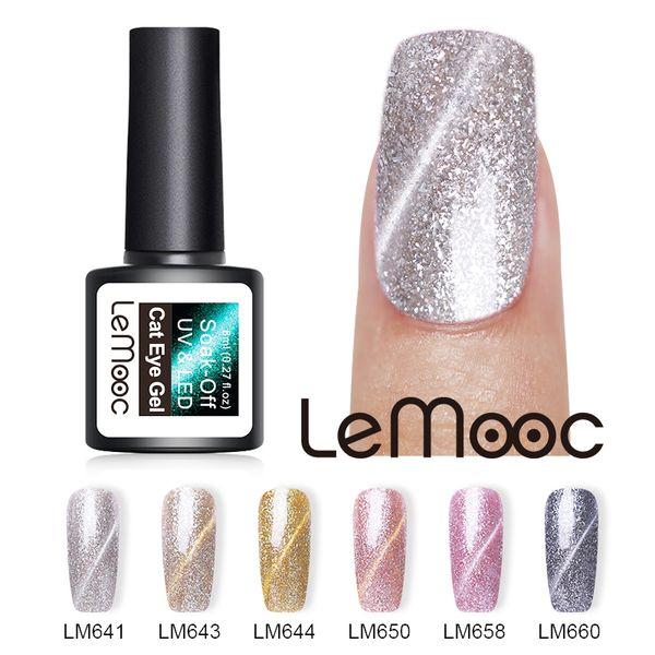 lemooc 8ml platinum cat eye uv gel polish glitter magnetic soak off nail art gel varnish manicure design