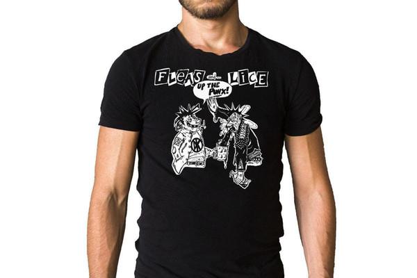 Pulgas e Piolhos Acima Do Punx 1996 Song Cover Inspirado Preto T-Shirt Top Tee para Venda Camisas de Algodão Natural Plus Size