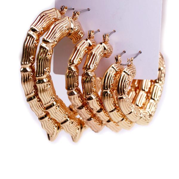 Or martelé en métal coeur géométrique Bambou Hoop boucles d'oreilles Afrique Mode été bijoux femmes fête nuptiale Accessoires