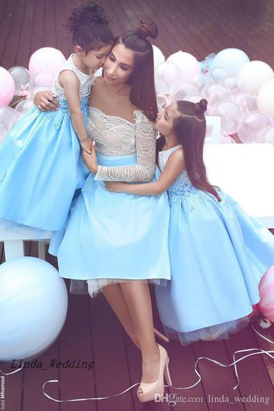 Sexy abito da ballo in pizzo corto blu lago vestito da madre abito formale da sera abito da sera su misura Plus Size