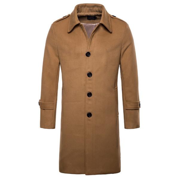 Avrupa / ABD boyutu Yeni Marka Yün Coat Erkekler Moda Uzun Trençkot İngiltere Stil Yün Blend Tek Göğüslü Ceket Erkek Paltolar