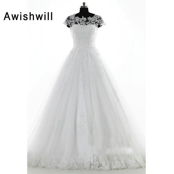 Vestido де Novias 2018 Реальные фотографии суд поезд кружева аппликации тюль с коротким рукавом свадебные платья для невесты свадебные платья
