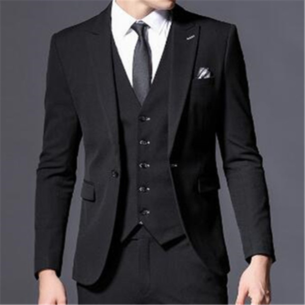 2018 New Arrival Black Men Suit 3Pieces(Jacket+Pant+Tie+Vest) Custom Made Latest Coat Pant Design Slim Fit Fashion Blazer