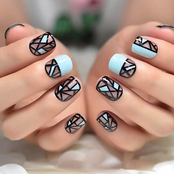 Irregular Geometry Light Blue French False Nails Black Clear Fake Nail Pre Designs Nail Tips Short Round Wear Finger Art
