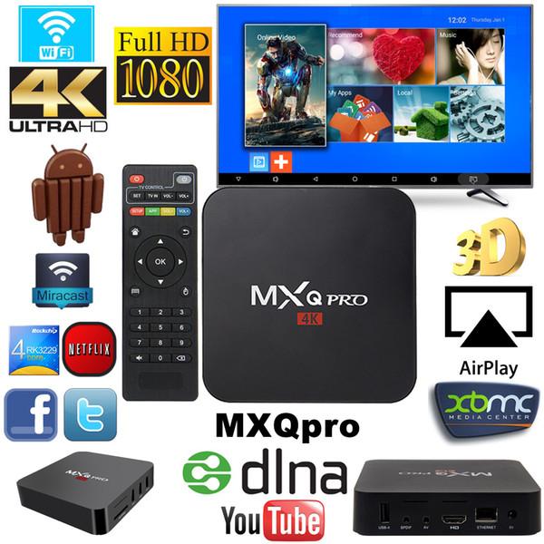 Hot MXQ PRO Rockchip RK3229 Quad Core Android 7.1 TV BOX 1G 8G Wifi H.265 Smart Media Player