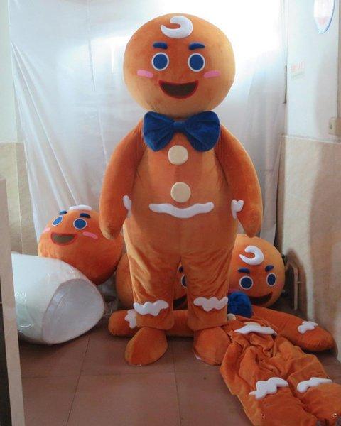 2018 de alta qualidade quente a cabeça Gingerbread man traje da mascote para adulto para vestir for sale