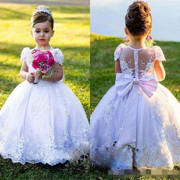 .Одутловатое белое кружево девушки театрализованное платье Принцесса пояс лук Первое причастие платье Платье дети партия формальная одежда девушки цветка платья для свадьбы