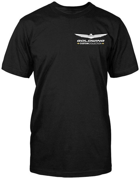 GOLDWING CUSTOM COLLECTION - SHORT SLEEVE TEE / T-SHIRT - BLACK Great Discount Cotton Men Tee