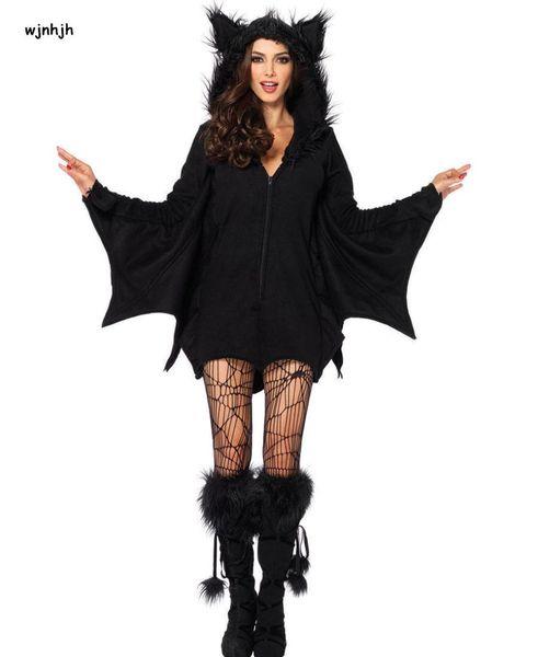 Halloween Sexy Vampire Costume Women Black Evil Bat Costume Clothes Halloween Masquerade Plays Vampire Costumes