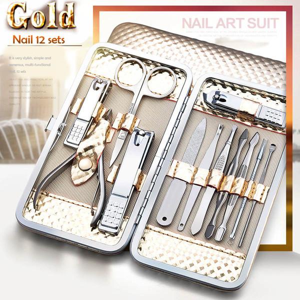 Mini Dedo Cortador De Unhas Clipper Tweezers 12 pcs Multifuncional Portátil Aço Inoxidável Nail Art Manicure Set Ferramentas de Cuidados Com As Unhas