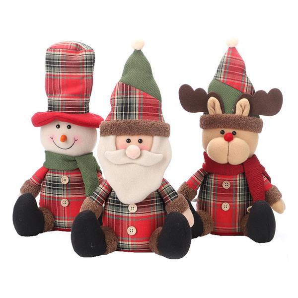 Kawaii Xmas Plush dolls Santa Claus snowman deer Plush toys supermarket show window Christmas Decoration toys kids best Gifts