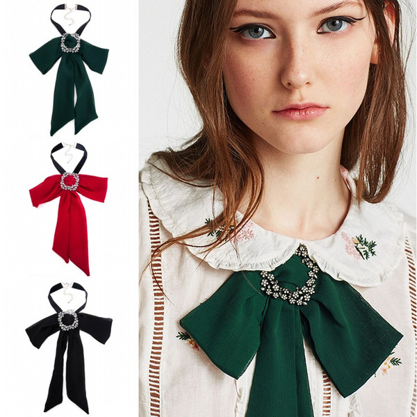 Fashion Lady Chiffon Bowknot Choker Crystal Boutonniere Flower Long Bow Tie Necklace Solid Color Collar Brooch for Women Gift Free DHL H414R