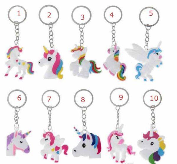 11 style Unicorn bag Key ring Multi Color Rainbow Unicorn Mini Key ring Bag Key chain pendant jewelry kids gift decoration accessories