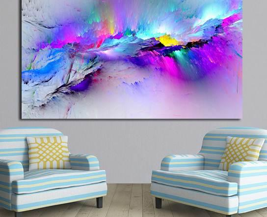 Wall Pictures For Living Room Abstract Oil Painting Clouds Colorful Canvas Art Home Decor