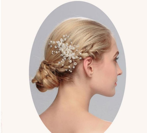 Frau Braut Haarnadel Kristallperle Kopfbedeckung Tiara Hochzeit Kopfschmuck