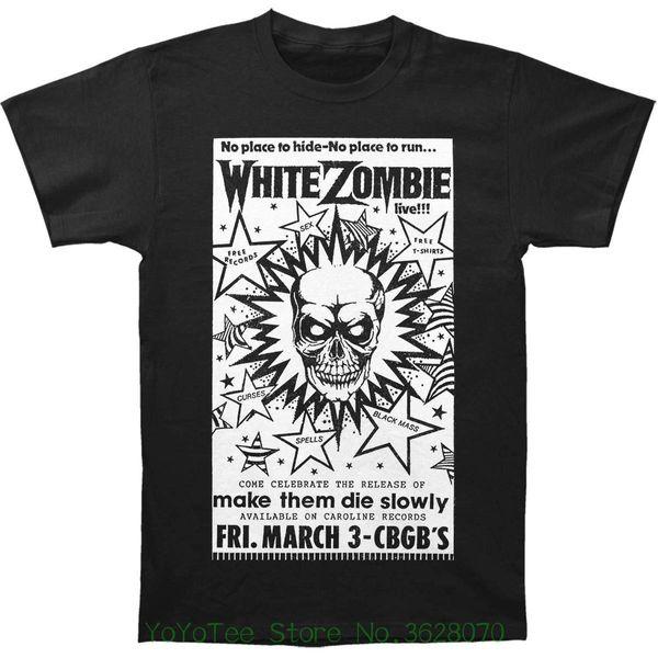 Moda T-Shirt Slim Fit O-Boyun Beyaz Zombi Erkekler 'S Cbgb Posteri T-shirt Siyah