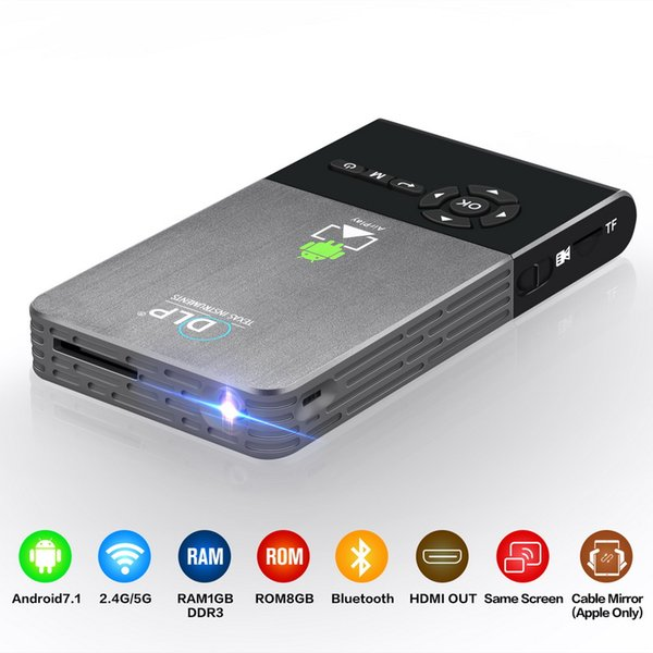 DLP Mini Projector Android 7.1 RK3128 Quad-core 1G RAM 8G Rom 5G Wifi Smart Portable Proyector box 1080P HD 5000MAH Battery C2