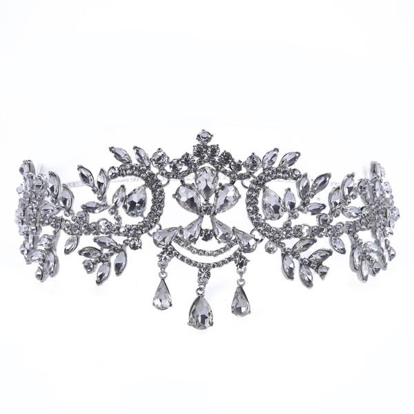 Bride accessories water diamond forehead crown Korean brides hair white water drill beautiful headgear wedding supplies