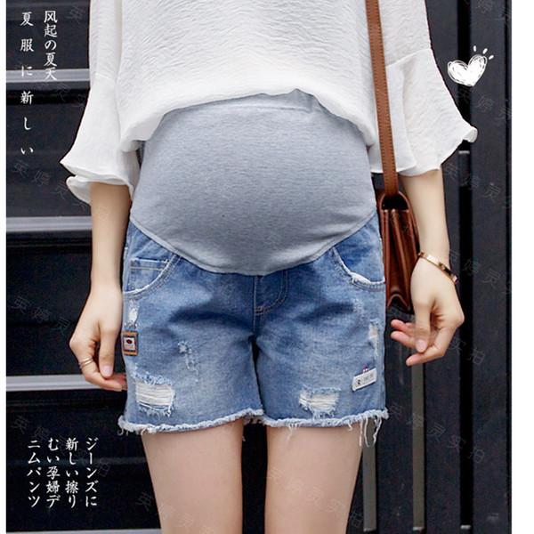 cde5d7401 Yuanjiaxin maternidad pantalones cortos de mezclilla Jeans Talla grande  Embarazada azul ropa de maternidad Embarazo Nueva