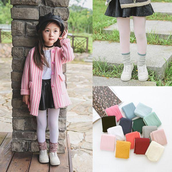 15 Renkler Kızlar Kadife Külotlu Kızlar Şeker Renk Dans Çorap Çocuk Bale Tayt Bahar Yumuşak Çocuk Tayt Sevimli Çocuklar Clothing2-12T