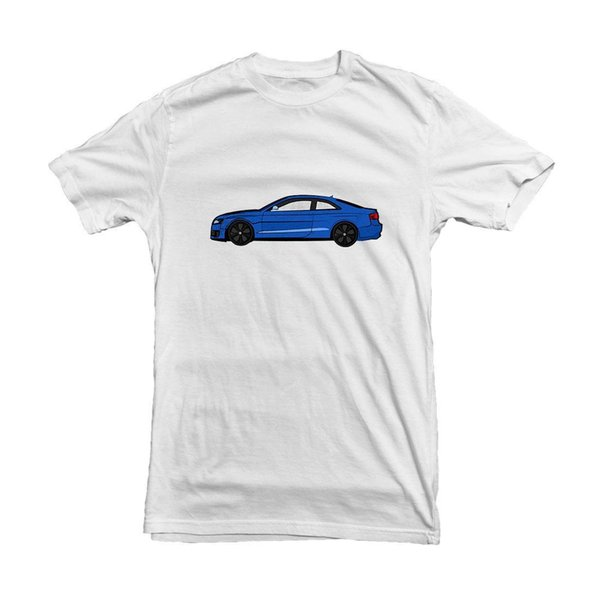100% Cotton Print Men O-Neck Free Shipping HighRS 5 Blue side view T-shirt for car Fan - White Tee - High Quality