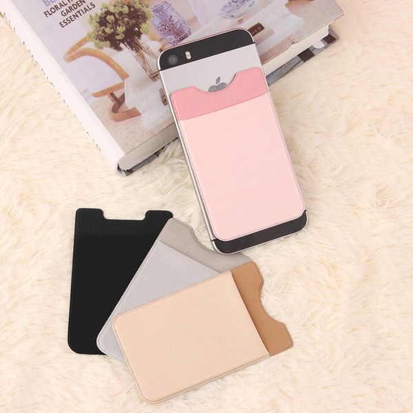 Elastic Lycra Cell Phone Wallet Case Credit ID Card Holder Pocket Stick On 3 M Adhesive Black/Gray/Pink/Golden