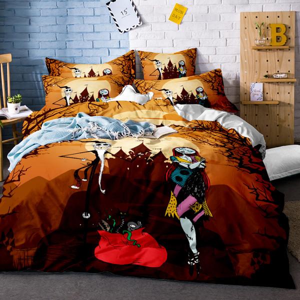 Christmas Gift 3D Halloween Bedding Set Skull Bedding Set Christmas 3Pcs Coverlet Twin Queen King Size