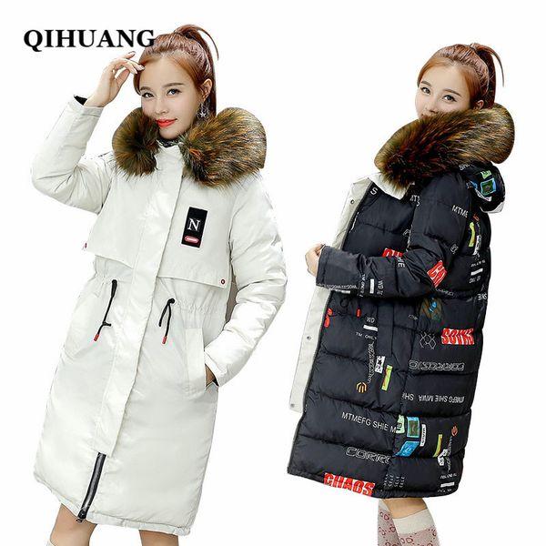 Großhandel QIHUANG Double Side Outwear Frauen Daunenmantel Winter Thicking Weibliche Lange Jacke Mode Pelzkragen Mit Kapuze Unten Baumwolle