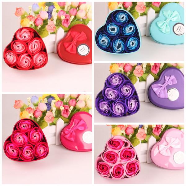 Diy hecho a mano decoraciones flor cinco colores madre día de san valentín simulación ramo duradero pétalos de rosa jabones para regalo de boda 3 9 mw b