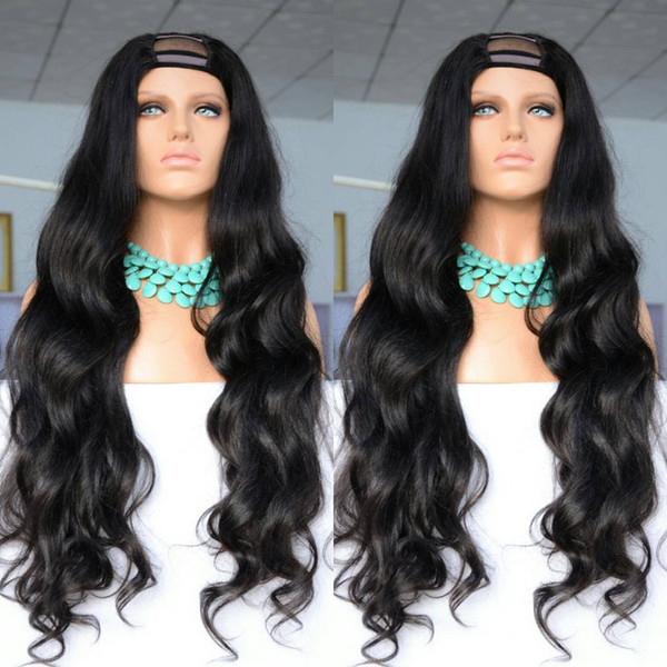 Pretty grade 7a 100% unprocessed raw virgin remy human hair long natural color natural wave full lace cap wig for women
