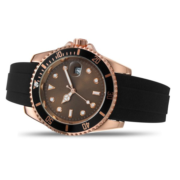 2019 Rose gold Luxury mens Watch YACHT AAA MASTER 40mm Quartz Movement Mens Silicone Fashion Casual Auto Date Just for men women