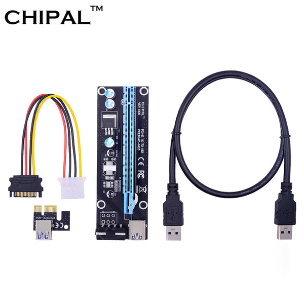 CHIPAL 0.6M PCI Express PCI-E 1X to 16X Riser Card Converter PCIE Extender with USB3.0 Cable + SATA to 4Pin IDE Molex Power Cord