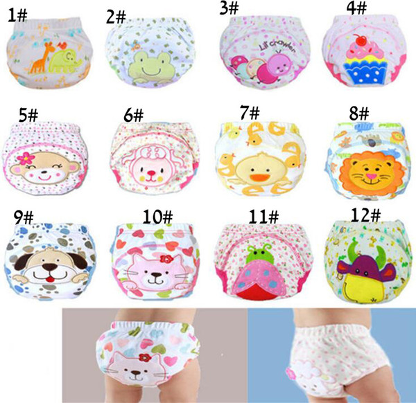 top popular Cute Baby Diapers Reusable Nappies Cloth Diaper Washable Infants Children Baby Cotton Training Pants Panties Nappy Changing 2019