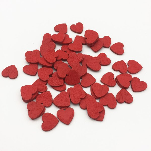 1000pcs 11x12mm White Red Green Wood Hearts Slices Confetti Crafts for Wedding Party Ornaments Table Scatter Decorations