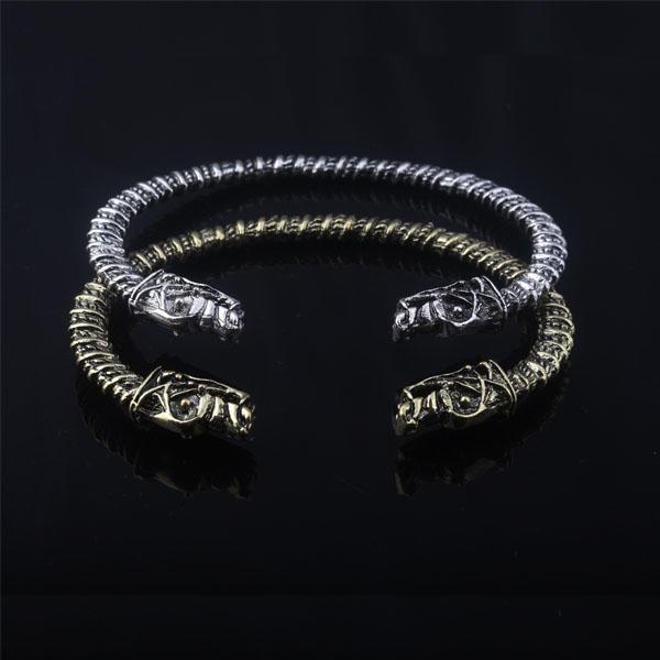 Dia 8cm The Vikings Bracelet Two Headed Wolf Fenrir Viking Mens Bracelets Bangles Jewelry