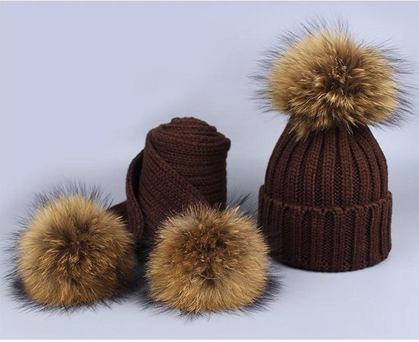 New 2 Pieces Set Children Winter Hat Scarf for Girls Hat Real Raccoon Fur Pom Pom Beanies Cap Knitted Winter Hat Wholesale