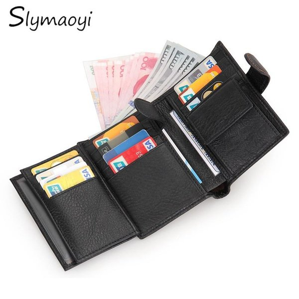 Top Quality New Arrival Genuine Leather Wallet Short Men Wallets Luxury Dollar Price Vintage Male Card Holder Coin Purse