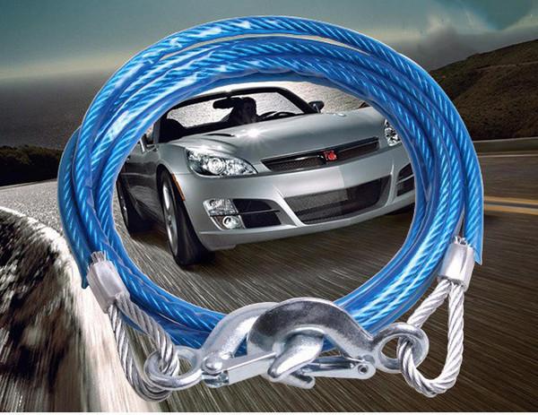 Ağır Çekme Halatları 4 M 5 Ton Tel Kablo Yüksek Mukavemetli Emniyet Kanca Çelik Tel Römork Araba Acil Çekme Halatı